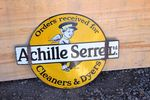 Achille Serrel Cleaners Double Sided Enamel Sign.#