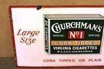 Vintage Churchmans Cork Cigarettes Pictorial Enamel Sign