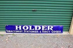 Holder Tobacconist Enamel Advertising Sign .#