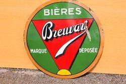 Bieres Brewart Enamel Advertising Sign#