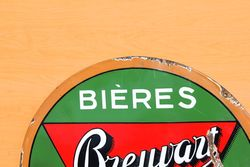 Bieres Brewart Enamel Advertising Sign
