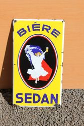 Biere Sedan Pictorial Enamel Advertising Sign.#