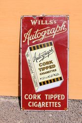 Wills Autograph Pictorial Enamel Advertising Sign.#