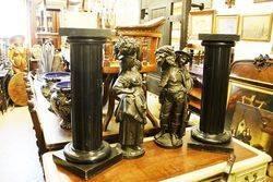 ARRIVING NOV Victorian Pair of Spelter Figures + Stands
