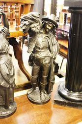 ARRIVING NOV Victorian Pair of Spelter Figures + Stands