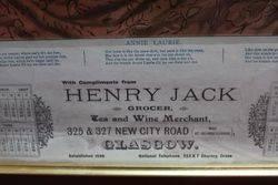 Framed and Glazed Henry Jack Grocer of Glasgow Calendar for 1907
