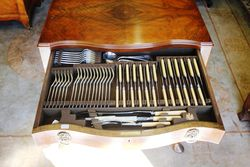 109 Piece Canteen Of Cutlery In 2 Drawer Walnut Cabinet