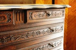 19th Century Highleg 4 Drawer Carved Commode