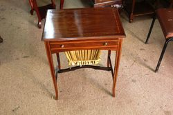 Edwardian Walnut Inlaid Sewing Table.#