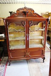 Late Victorian 2 Door Carved Mahogany Display Cabinet.#
