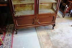 Late Victorian 2 Door Carved Mahogany Display Cabinet C1900