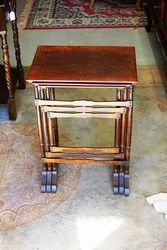 Early C20th Oak Nest Of 3 Tables.#