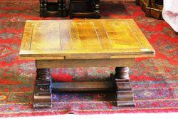 Early C20th Oak Coffee Extention Table .#