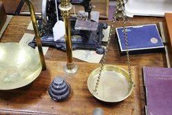 Victorian Brass Balance Scales On Mahogany Base