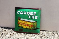 Caroes The. Convex Pictorial Enamel Sign.#