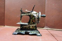 Antique Tin Plate Childs Sewing Machine #