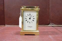 20th Century Fema 11 Jewels London Brass Cariage Clock #