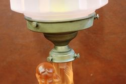 Genuine Art Deco Glass Figure Table Lamp With Original Shade