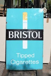Bristol Tipped Cigarettes Large Enamel Advertising Sign .#