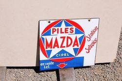 Mazda Service Near Mint Double Sided Enamel Sign.#