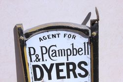 Framed Double Sided Perth Dyers Enamel Post Mount Advertising sign