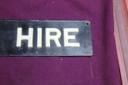Cars For Hire Enamel Advertising Sign
