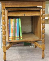 Oak Revolving Display Cabinet with Tambour  Doors.#
