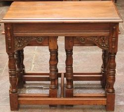 C20th Oak Nest of 3 Carved Tables.#