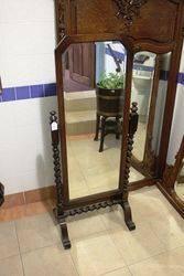 Oak Barley Twist Cheval Mirror C1920.#
