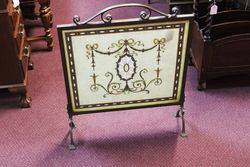 Antique and Rare Bronze Framed Fire Screen.#