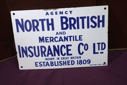 North British Insurance Agency Enamel Advertising Sign.#