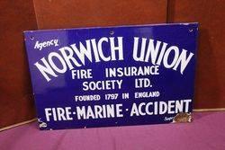 Norwich Union Insurance Agency Enamel Sign. #