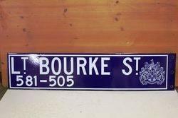 Little Bourke St Enamel Melbourne Street Sign