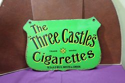 Three Castles Cigarettes Double Sided Enamel Advertising Sign