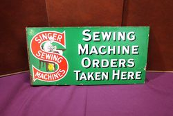 Singer Sewing Machine Enamel Post Mount Sign.#
