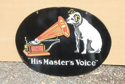 His Masters Voice Enamel Advertising Sign.#