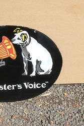 His Masters Voice Enamel Advertising Sign