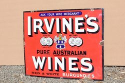 Irvines Australian Wines Enamel Advertising Sign.#