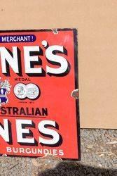 Irvines Australian Wines Enamel Advertising Sign