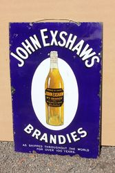 John Exshaws Brandy Pictorial Enamel Advertising Sign.#