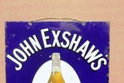 John Exshaws Brandy Pictorial Enamel Advertising Sign