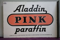 Aladdin & Pink Paraffin Double Sided Enamel Advertising Sign
