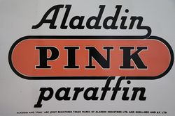 Aladdin and Pink Paraffin Double Sided Enamel Advertising Sign