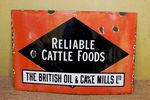 Antique Cattle Foods Farming Enamel Sign.