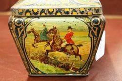 Antique Hunting Scene Biscuit Tin