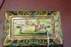 Antique Hunting Scene Biscuit Tin