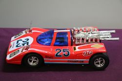 Vintage 1960's Taiwan Big Machine Red Race Car Mystery Bump 'n Go WZ-501