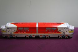 Battery Operated Vintage Santa Fe Train Toy ,Cragstan Tootin Chugging Locomotive
