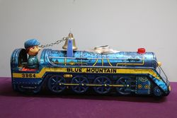 Battery Operated  Vintage Tin Litho Blue Mountain  #3964 Train Engine Japan