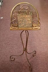 Early C20th Revolving Brass + Copper Magazine Rack .#